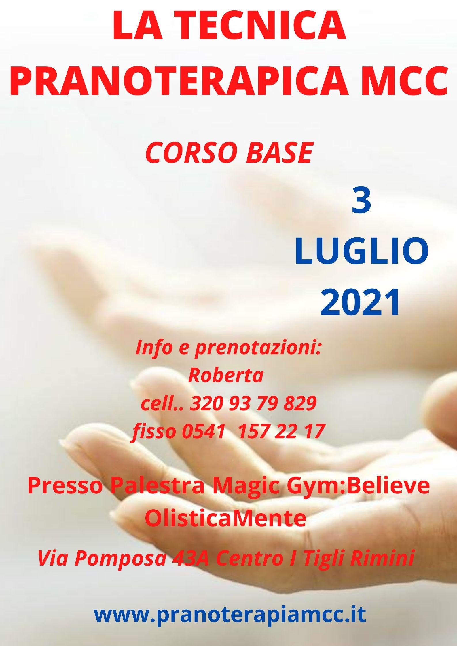 SEMINARIO DI TECNICA PRANOTERAPICA MCC - CORSO BASE